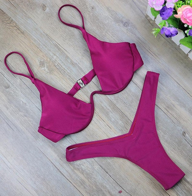 Cut Thong Bathing Suit Waist Swimsuit Solid Swimwear Women Brazilian Biquini-iuly.com