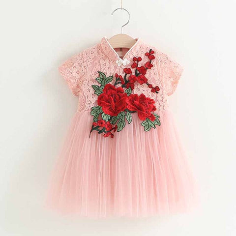 Girls Dress 2017New Summer Children Clothing Red Flowers Princess Casual Cheongsam-iuly.com