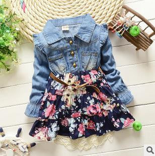 Girls Polka Dot Cartoon Princess Dress Denim Floral Dress Summer Dresses Lace-iuly.com