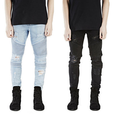 Men'S Hip-Hop Pants Ruched Designs Slimming Jeans Comfortable Man Wear-iuly.com
