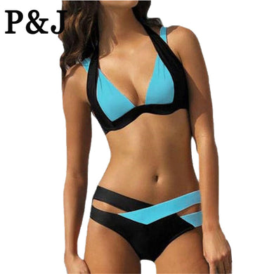 Mix Color Two Piece Adjust Bust Summer Style Bikini Set Push Up Swimsu-iuly.com