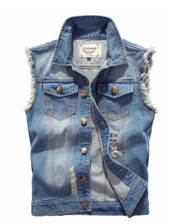Men Denim Vest Spring And Summer Autumn Cowboy Sleeveless Male Waistcoat Short-iuly.com
