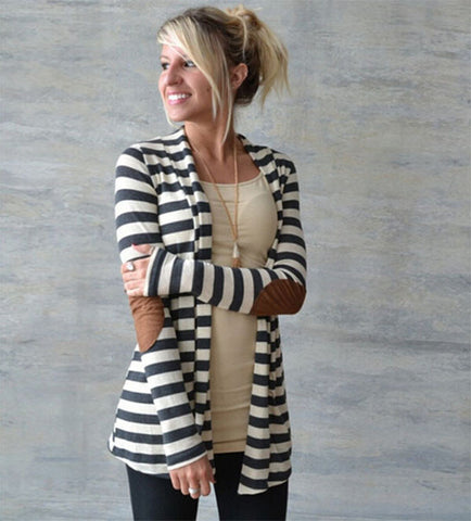 Black And White Striped Elbow Patching Pu Leather Long Sleeve Knitted-iuly.com