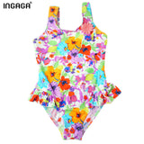 Designers Little Girl Swimsuits Printed Ruffle One Piece Suits Swimwear-iuly.com