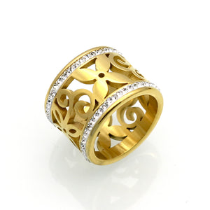 Crystal Rings Women White Rhinestone Stainless Steel Gold Color Wedding-iuly.com