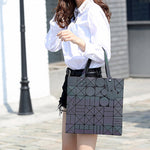 Bags Women Bucket Bag Geometry Sequins Mirror Saser Plain Folding Shoulder-iuly.com