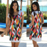 Casual Women Summer Dress Women Sexy Mini Dress Polyester O-Neck Short Sleeve-iuly.com