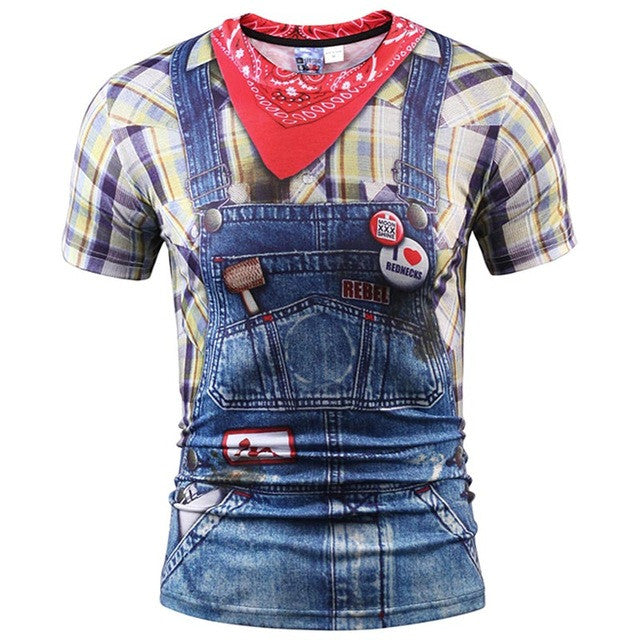 3D T-Shirt Men/Women Summer Tops Tees Print Fake Plaid Shirts Jeans T Shirt-iuly.com