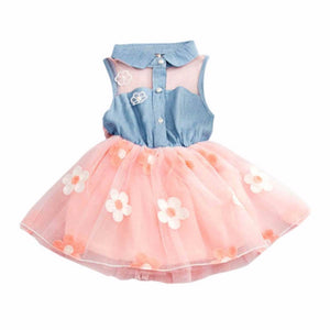 2-7Y Princess Cute Kids Girl'S Denim Sleeveless Tops Tulle Tutu Dresses Mini-iuly.com