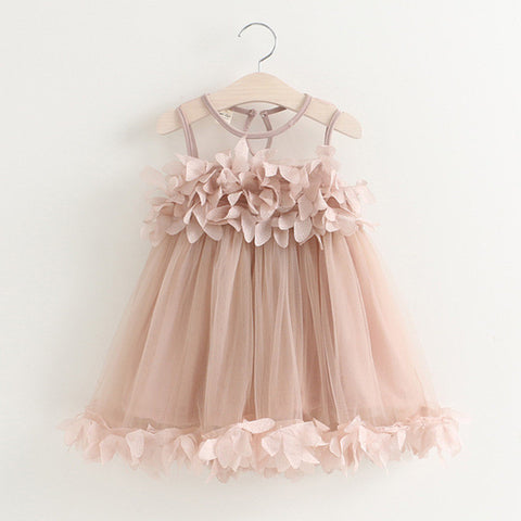 Girls Dress Summer Mesh Girls Clothes Pink Applique Princess Dress Children-iuly.com