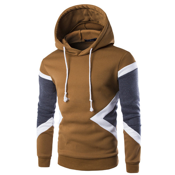 Autumn Mens Hoody Sweatshirt Patchwork Slim Fit Pullover Hoodies Mens Sportswear-iuly.com
