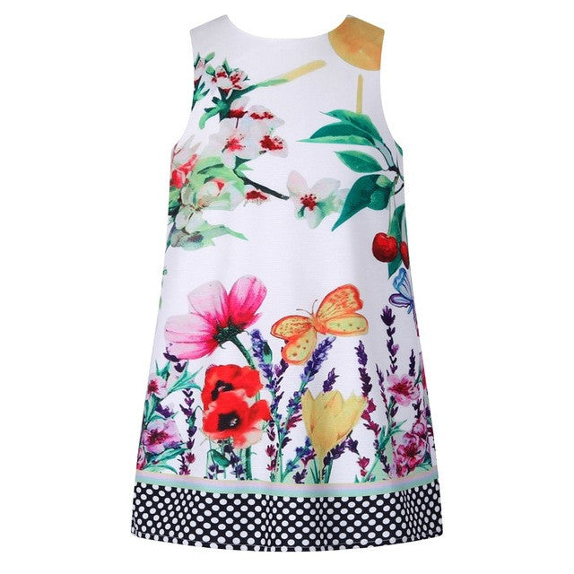 Girls Summer Dress With Cherry Flower Printed Disfraz Infantil Baby Girl-iuly.com