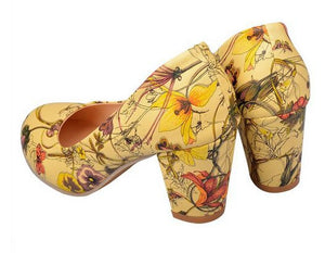 Arrivals Flowers Printing Woman Shoes Women Big Size 34-43 Round Toe Square-iuly.com