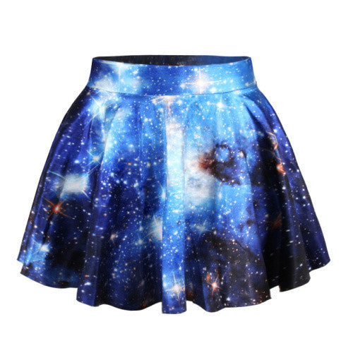Blue Summer Skirts Womens Pleated Skirts Punk Space Printed Saia Skirt-iuly.com