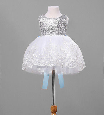 Baby Kids Girl Clothing Dresses Bowknot Lace Floral Xmas Party Formal Bridesmaid-iuly.com