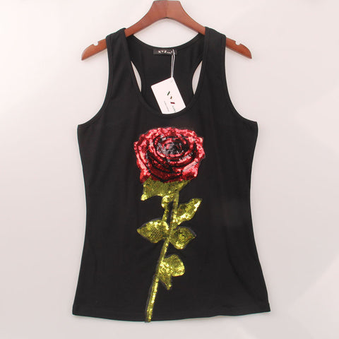 2 Colors Summer Style Tank Top Women Rose Sequins Sequined Vest Camiso-iuly.com
