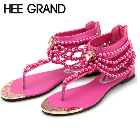 Bling Beading Sandals T-Strap Flip Flops Summer Style Flats Shoes Woman Rhinestone-iuly.com