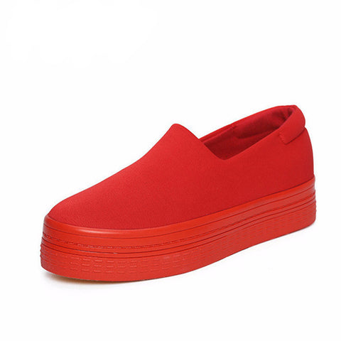 Flats Women Spring Casuals Shoes Solid Canvas Platform Shoes Red Black Women-iuly.com