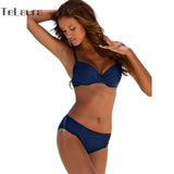 Bikini Set Push Up Swimwear Women Retro Swimsuit Solid Plus Size Swimwear Vintage-iuly.com