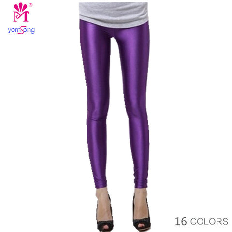 Yomsong Plus Size Candy Color Women'S Stretched Fashion Summer Best Neon Leggings-iuly.com