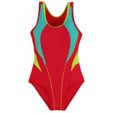 Children'S Swimwear One Piece Solid Patchwork Bodysuit Children Beachwear Sports-iuly.com