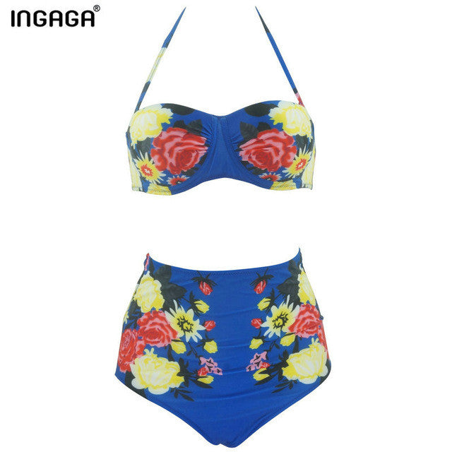Bikini Set Waist Swimsuit Swimwear Women Floral Strap Push Up Biquini Beachwear-iuly.com