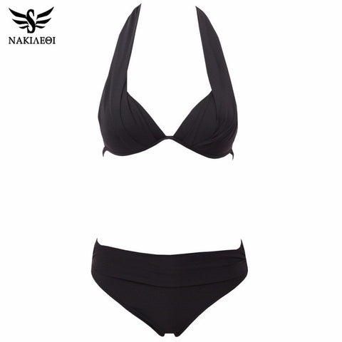 Bikinis Women Swimsuit Push Up Swimwear Plus Size Brazilian Bikini Set Halter-iuly.com