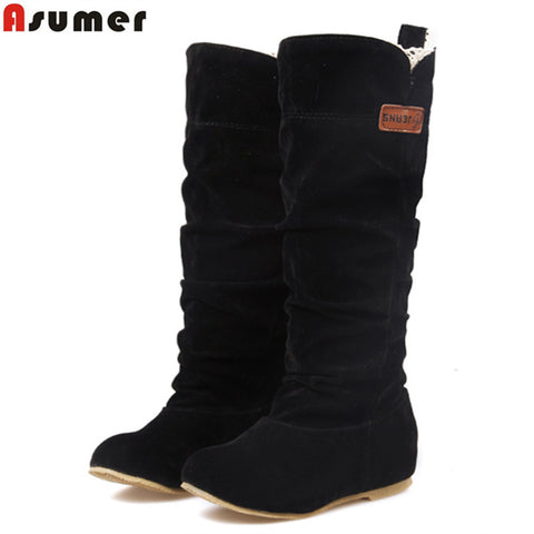 Female Woman Knee High Boots Flat Heel Nubuck Leather Motorcycle Women Boots-iuly.com