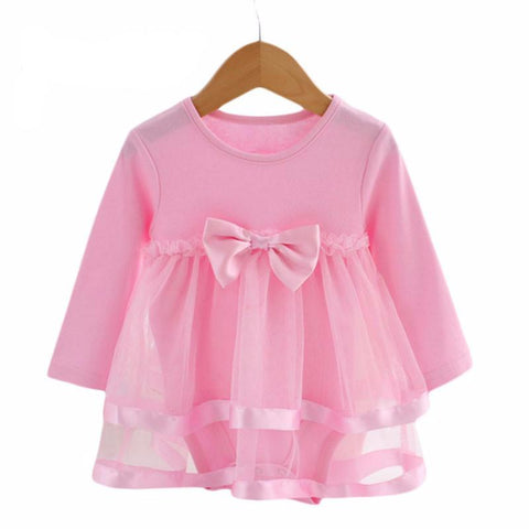 Lawadka Cotton Bow Born Baby Dress With Baby Rompers Soft Baby Girls Infant-iuly.com