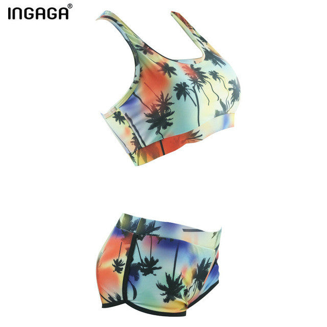 Bikini Set Swimwear Women Swimsuits Biquini Printing Shorts Straight Beachwear-iuly.com