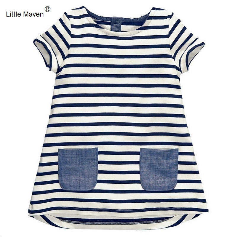 Little Maven 1-7 Years Girls Short Sleeve Blue Stripe Summer Dress Cotton Casual-iuly.com
