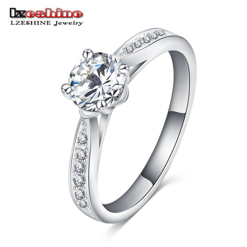 Women Princess Silver Color Female Ring Zirconia Engagement Acressories-iuly.com