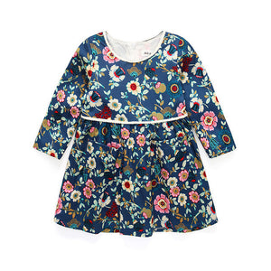 18M-4 Ages Girls Dress Casual Long Sleeves Flower A-Line Princess Girl Dresses-iuly.com