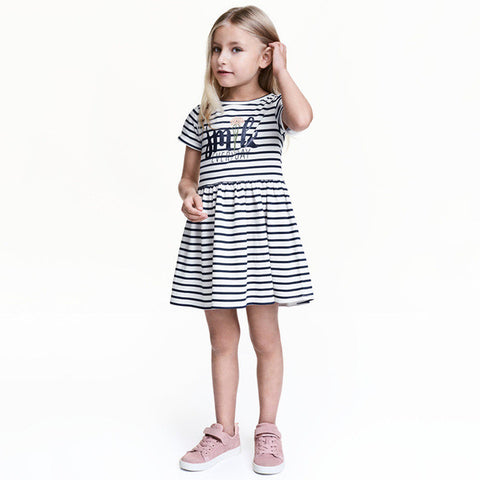 Girls Dress Summer Style Children Clothing Black And White Striped Princess-iuly.com