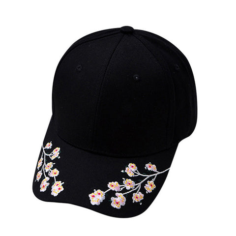 Cotton Baseball Hats For Women Plum Blossom Embroidery Flower Hip Hop Casual-iuly.com