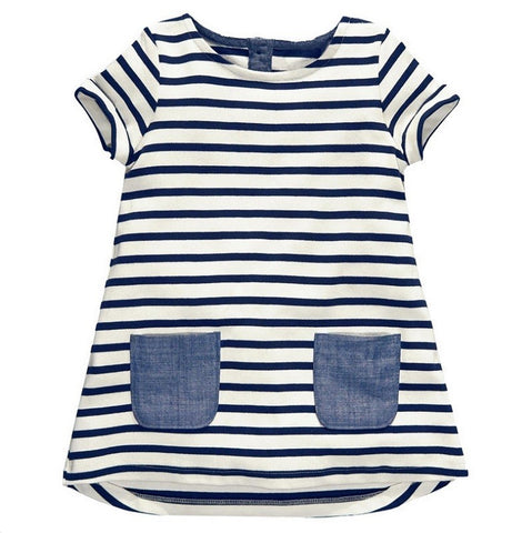 2-7 Years Girls Short Sleeve Blue Stripe Summer Dress Cotton Casual Dresses-iuly.com