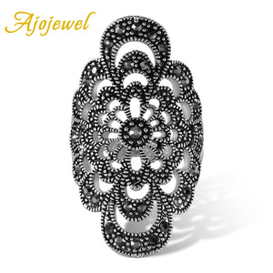 Antique Jewelry Hollow Flower Female Ring Black Rhinestone Accessories-iuly.com