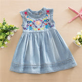 Girls Denim Dress Princess Dress Embroidered Sleeveless Casual Comfortable-iuly.com