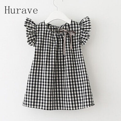 Summer Style Fashion Black White Plaid Girl Dresses Puff Sleeve Baby Kids Clothing-iuly.com