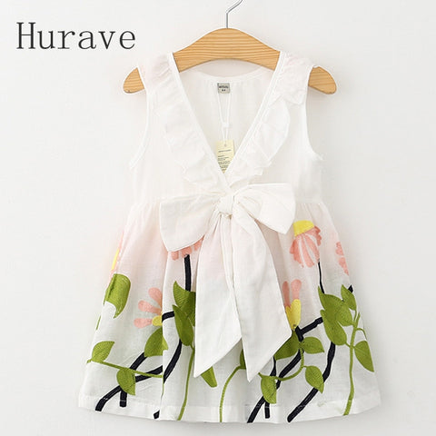 Girl Dress Floral Print Summer Dress Girls V Neck Embroidered Vest Children-iuly.com