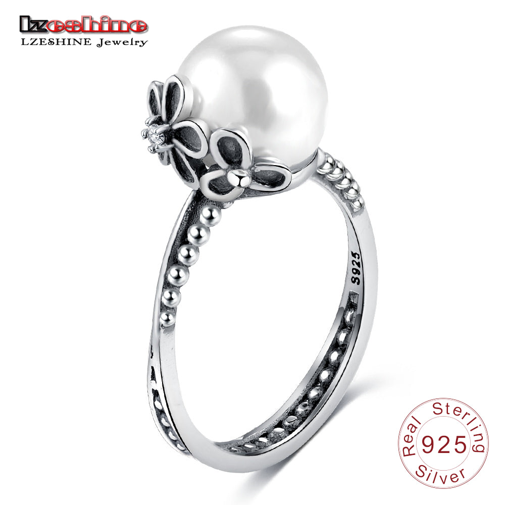 925 Sterling Silver Female Rings With Simulated Pearl Women Finger Ring-iuly.com