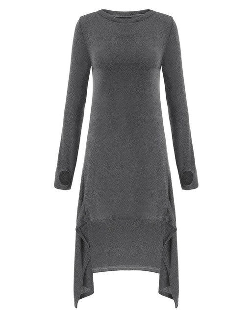 Autumn Women Casual Loose Dress Long Sleeve O Neck Knitted Sweater Irregular-iuly.com