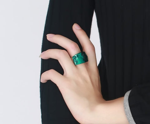 Big Stone Rings Women Unique Gold-Color Stainless Steel Party Cocktail-iuly.com