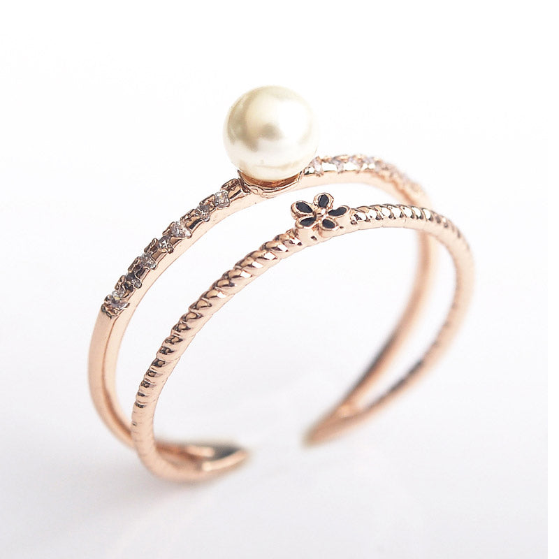 Bridal Sets Imitation Pearl Rings Women Jewelry Rose Gold Color Austria-iuly.com