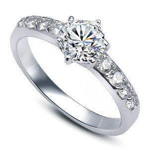Cz Zircon 925 Sterling Silver Female Ladies`Wedding Rings Jewelry-iuly.com