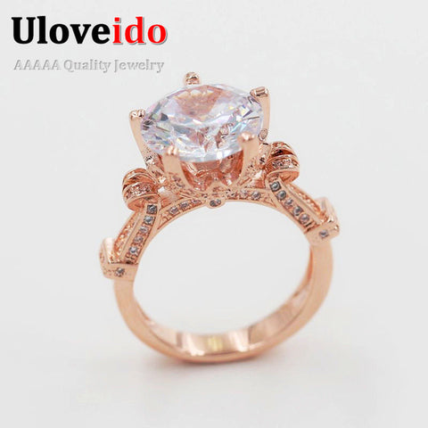 Big Cubic Zirconia Love Ring Female Women'S Rings Rose Gold Color Year-iuly.com