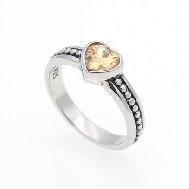 6 Colors Crystal Stone Stainless Steel Ring Heart Love Cubic Zircon Accessories-iuly.com