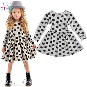Baby Girl Autumn Dress Children Black Cat Shortsleeve Clothes Kids Casual Cotton-iuly.com