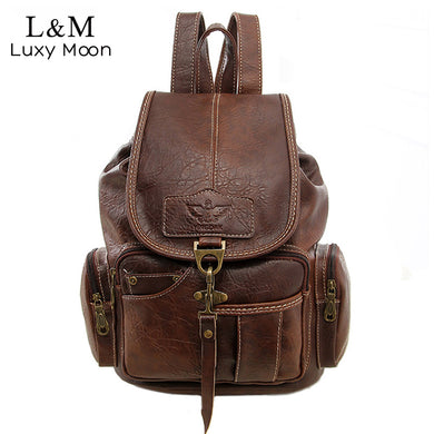 Women Backpack Vintage Backpacks For Teenage Large School Bags Pu Leather-iuly.com