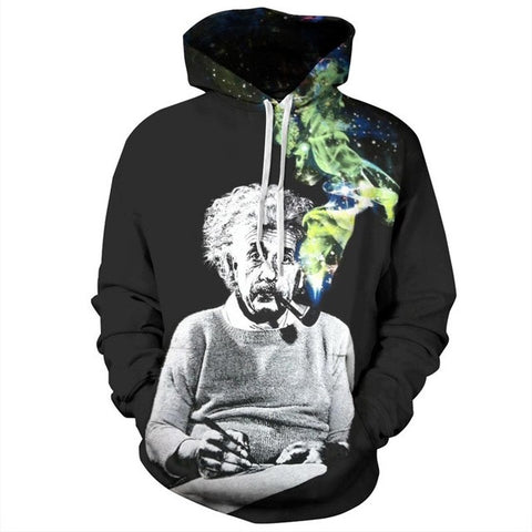 Einstein Hoodies Men/Women Sweatshirts 3D Print Einstein Smoking Thin Unisex-iuly.com